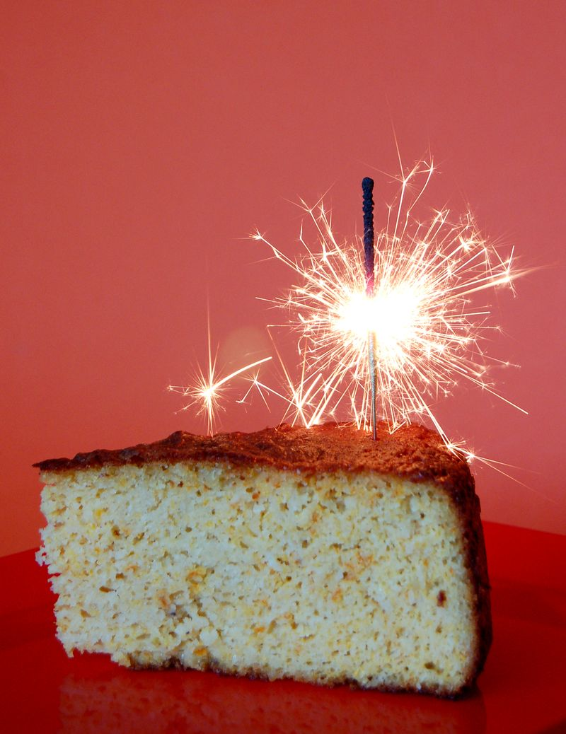 Cake with sparkler