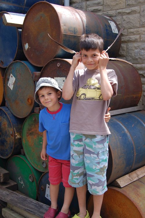 Boys by barrels